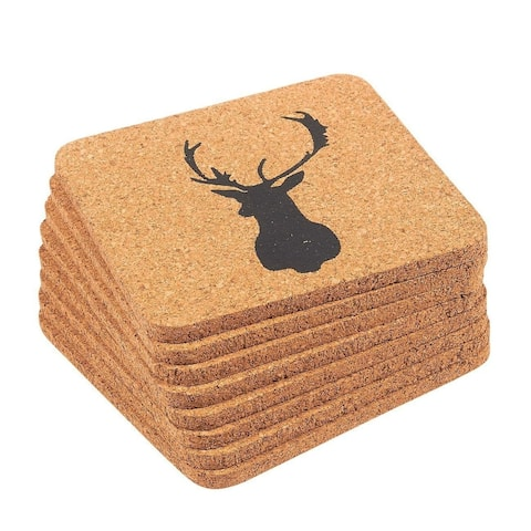 Drink Cork Coasters 8-Pack Reindeer Design Mug Cup Square Coasters for Beverage