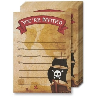 24-Set Pirate Design Invitation Card with Envelope for Kids Birthday Party
