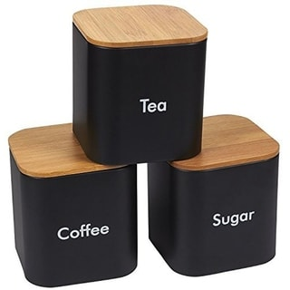 Link to Kitchen Canister Set of 3, Coffee, Sugar, Tea Storage Container with Bamboo Lids Similar Items in Kitchen Storage