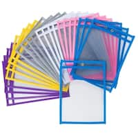 Juvale 24-Pack Reusable Plastic Dry Erase Pockets for Kids, Teachers, School