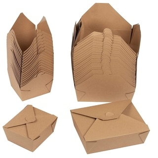 100-Pack Kraft Pre-Assembled To Go Paper Take-Out Containers Picnic Box 2 Sizes