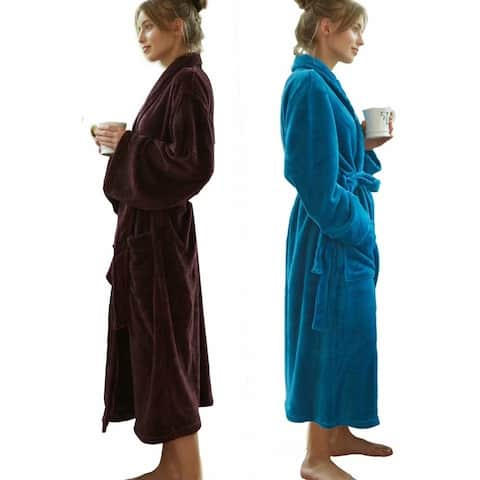 Women Bathrobe Wrap Kimono Loungewear Full Length Pockets