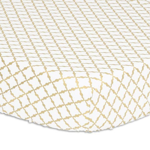 Peanutshell Golden Lattice Fitted Crib Sheet