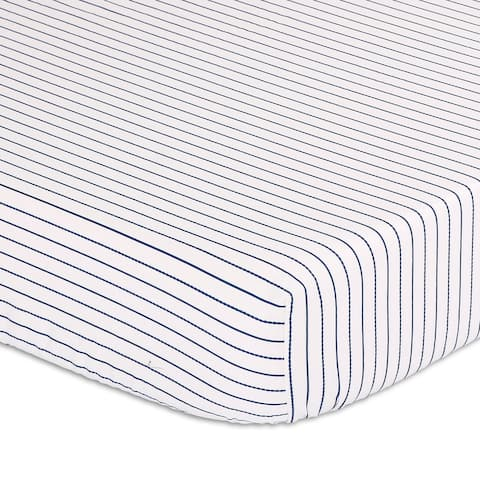 Peanutshell Navy Stripe Fitted Crib Sheet