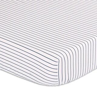 Peanutshell Navy Stripe Fitted Crib Sheet