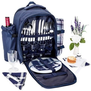 Picnic Basket Backpack+(4 set Knives Forks Spoons Plates Napkins Wine Glasses)