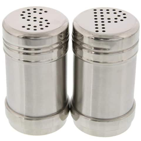 Modern Design BPA Free Salt and Pepper Shakers Stainless Steel Glass Set, 3.5oz
