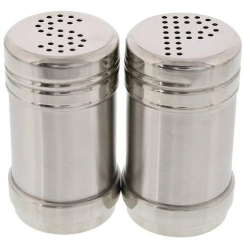 Modern Design BPA Free Salt and Pepper Shakers Stainless Steel Glass Set, 3.5oz