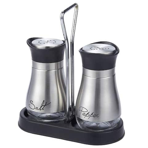 Elegant BPA Free Salt Pepper Shakers Stainless Steel Glass Set with Stand, 4oz