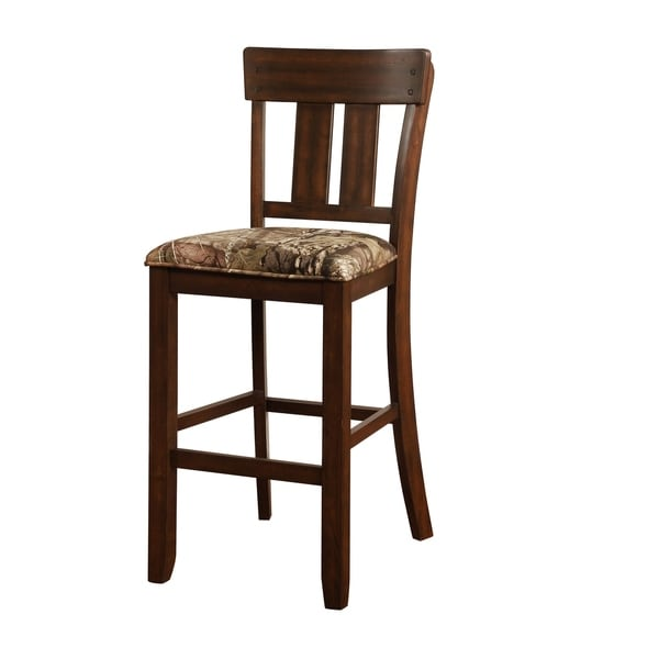 Wooden Bar Stool With Camouflage Fabric Seat Brown