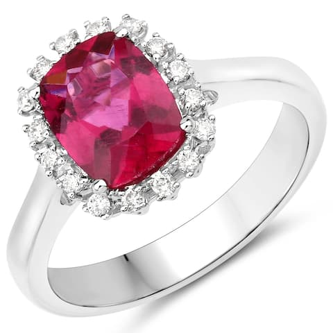 2.10 Carat Genuine Rubellite and White Diamond 14 Karat White Gold Ring