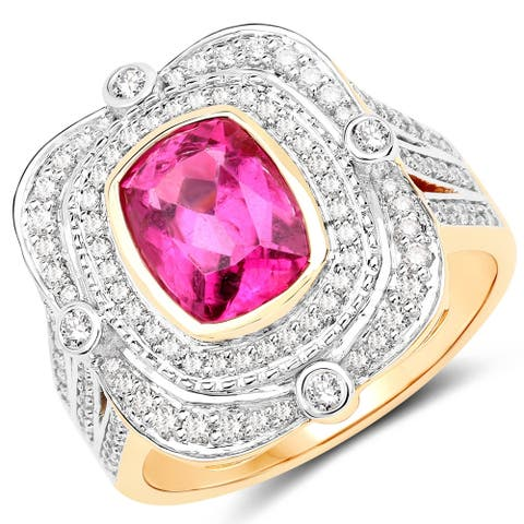 2.47 Carat Genuine Rubellite and White Diamond 14 Karat Yellow Gold Ring