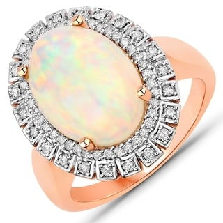 3 57 Carat Genuine Ethiopian Opal And White Diamond 14 Karat Rose Gold Ring