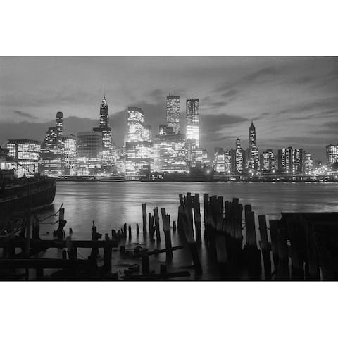 CANVAS New York at Night Twin Towers Photographic Print