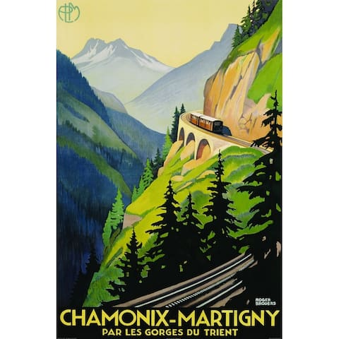 CANVAS Chamonix-Martigny Rail Road Travel Vintage Advertisement