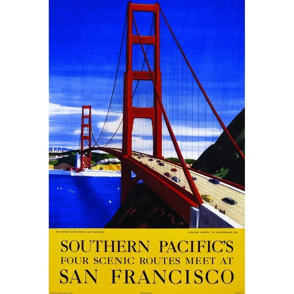 Canvas San Francisco Scenic Golden Gate Vintage Advertisement Overstock 29105283