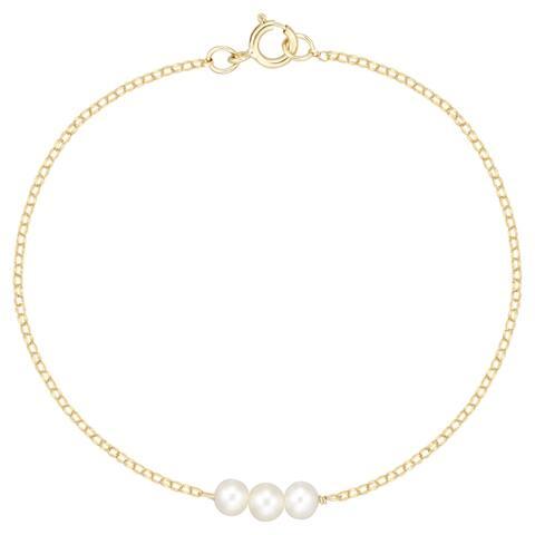 "Forever Last 10 Kt Gold 5.5"" with 3 Freshwater Pearls Bracelet"