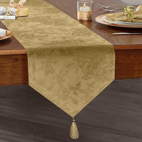 "Poinsettia Elegance Jacquard Holiday Table Runner - 13""x70"""