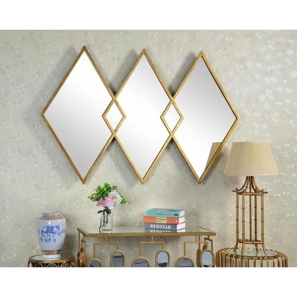 Diamond Gold Metal Wall Mirror - N/A
