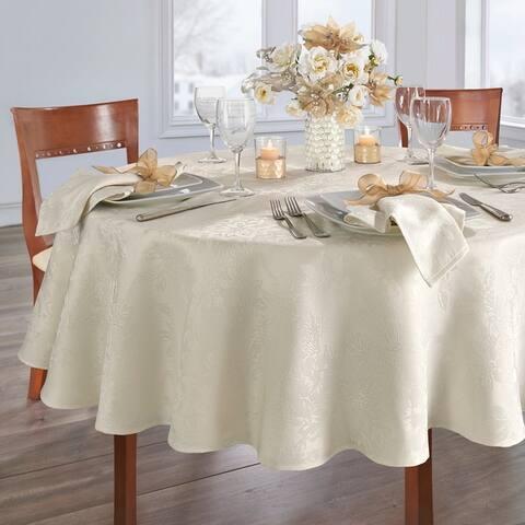 Porch & Den Prahl Jacquard Poinsettia Tablecloth