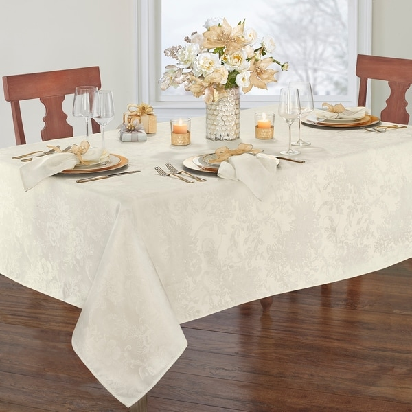 Porch & Den Prahl Jacquard Poinsettia Tablecloth. Opens flyout.