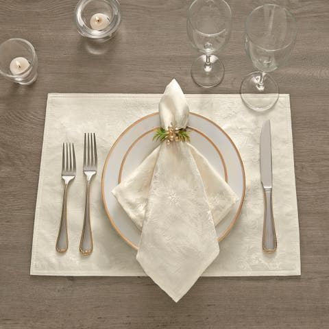 Poinsettia Elegance Jacquard Holiday Placemat - 13x19