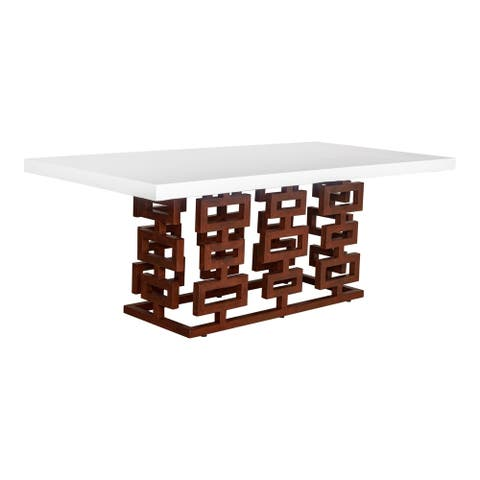 """Aurelle Home White Concrete and Steel Modern Outdoor Dining Table - 79"""" x 39"""""""