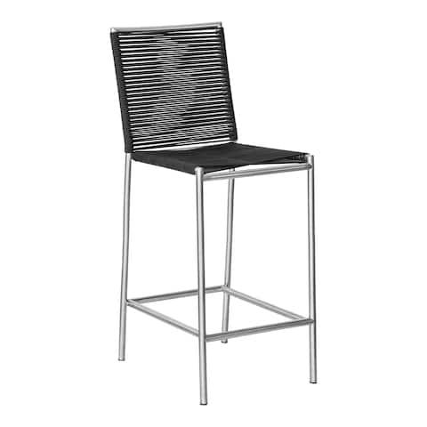 Aurelle Home Grey Rope Seating Modern Outdoor Barstool
