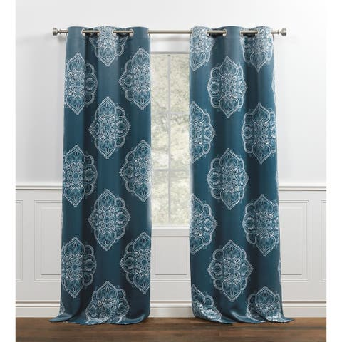 Chaps Home Madera Medallion Printed Sateen Grommet Top Curtain Panels