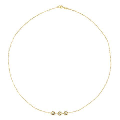 "Forever Last 10 Kt Gold 15"" 3 white Bezels Necklace"