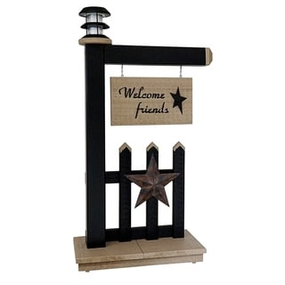 Primitive Outdoor Entryway Welcome Sign with Solar Light - Black and Clay