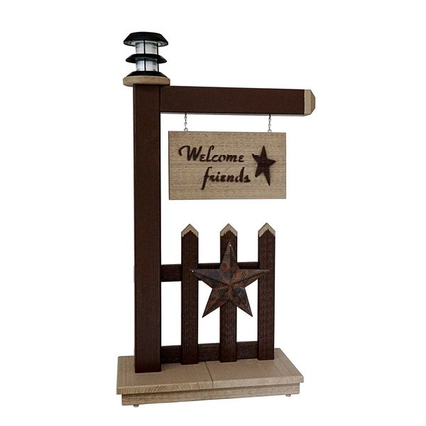 Primitive Outdoor Entryway Welcome Sign with Solar Light - Brown and Clay