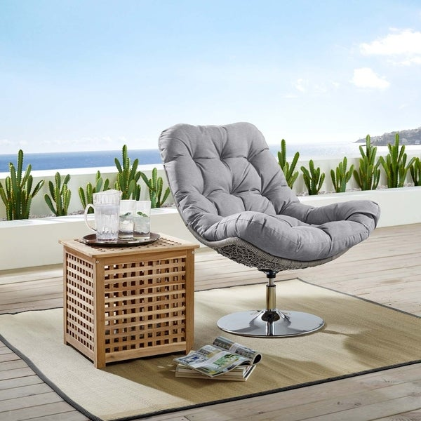 Brighton Wicker Rattan Outdoor Patio Swivel Lounge Chair