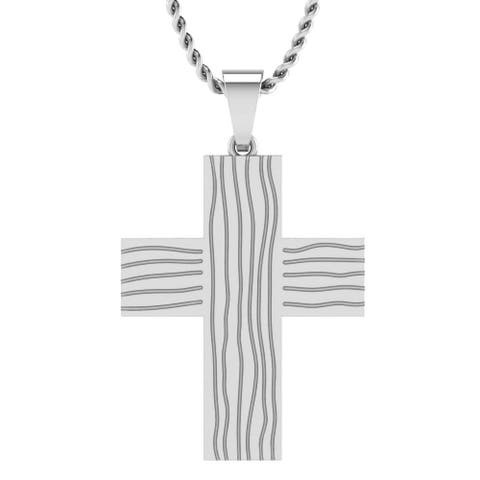 Sterling Silver Men's Wide Etched Men's Cross Pendant