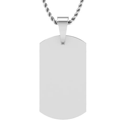 Sterling Silver Men's Plain Dog Tags