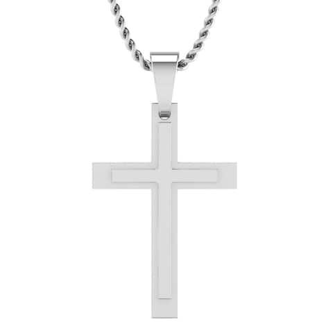 Sterling Silver Men's Double Cross Pendant