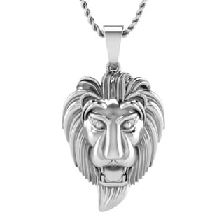 10K White Gold Men S Lion Pendant