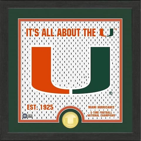 University of Miami Battle Cry Bronze Coin Photo Mint - 13X13