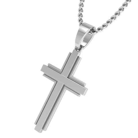 Sterling Silver Men's Cross Pendant Double Cross Pendant