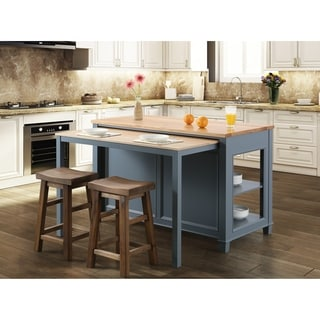 Medley 54 In. Kitchen Island With Slide Out Table in Gray - N/A