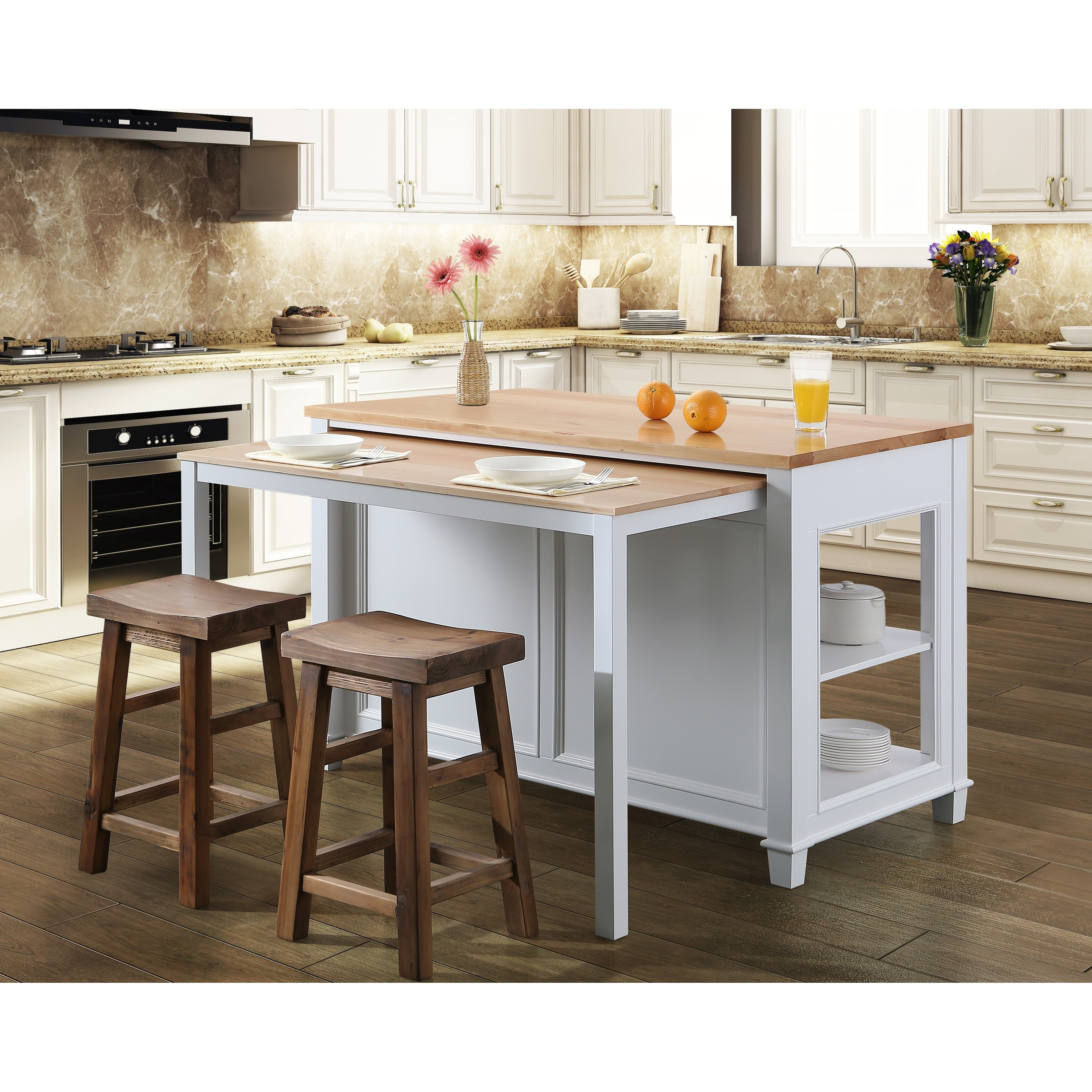 Medley 9 In. Kitchen Island With Slide Out Table in White   N/A