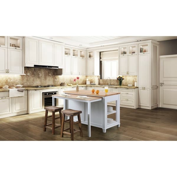 Medley 54 In Kitchen Island With Slide Out Table In White N A Overstock 29108677