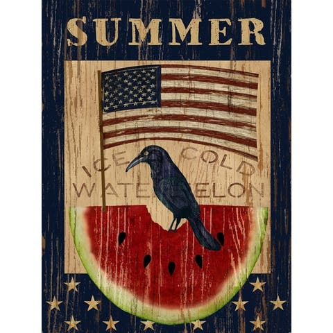 CANVAS Americana Summer Watermelon and Flag By Beth Albert