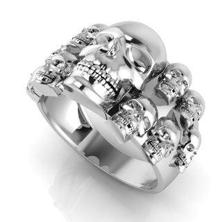 Men S 14k White Gold Skull Ring