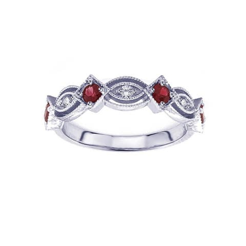 14k White Gold 2/5 Carat TW Round Red Ruby & Diamond Wedding Ring