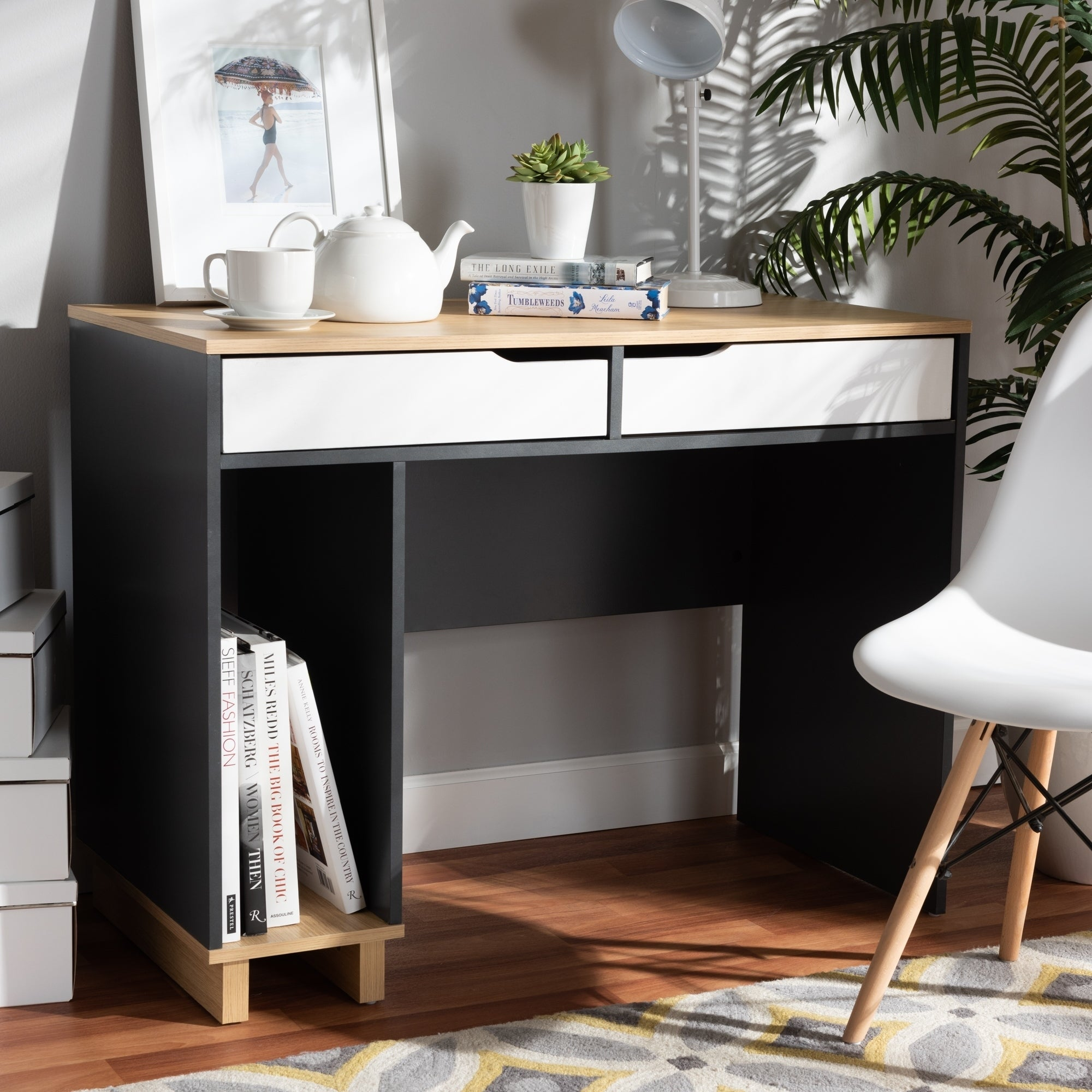 Image of: Shop Black Friday Deals On Reed Mid Century Modern 2 Drawer Computer Desk On Sale Overstock 29108817