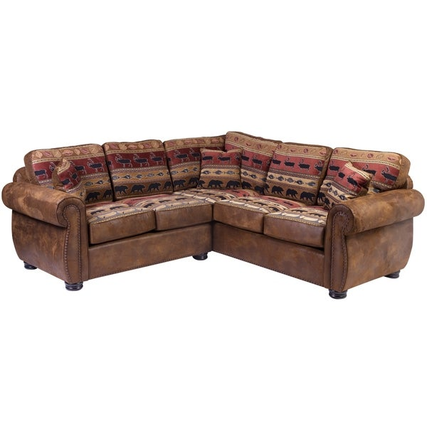 Porter Designs Hunter Wildlife Pattern Sectional With Nailhead Trim