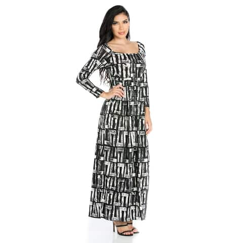 24seven Comfort Apparel Black and White Long Sleeve Maxi Dress
