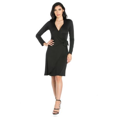 24seven Comfort Apparel Long Sleeve V Neck Mini Wrap Dress