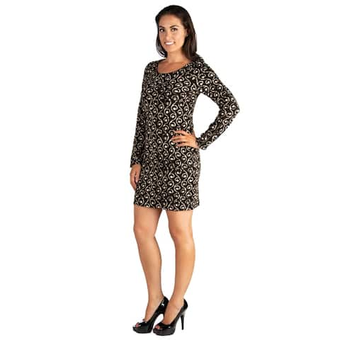 24seven Comfort Apparel Zipper Long Sleeve Ivy Print Shift Dress